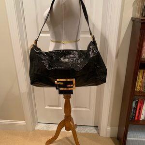 Fendi black patent, large bag, authentic